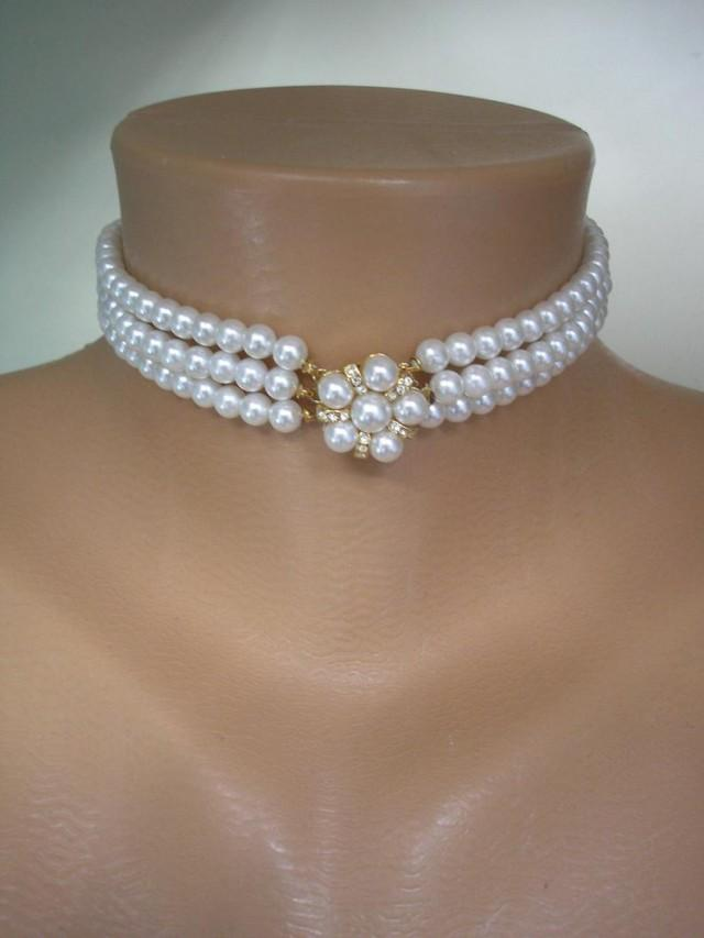 wedding photo - Vintage Pearl Choker, White Pearl Choker, 3 Strand Pearls, Bridal Pearls, Cocktail Jewellery, Pearl And Rhinestone, Indian Bridal Choker