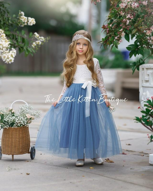tulle flower girl dress, rustic lace flower girl dress, long sleeve flower girl dresses, Nautical flower girl dress, ivory flower girl dress