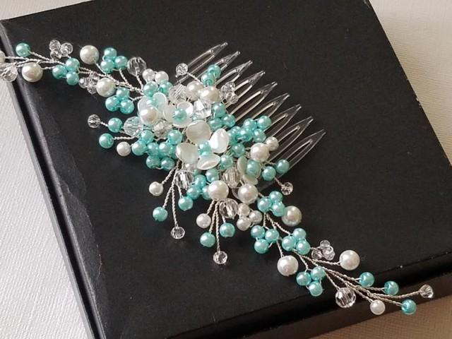 Mint White Pearl Bridal Hair Comb, Wedding Mint Headpiece, Aqua Silver Pearl Hair Piece, Mint Pearl Crystal Hair Jewelry, Mint Floral Comb