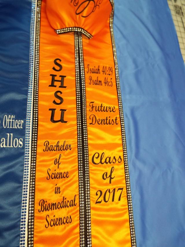 Graduation stoles/Four Letters vertically /Two Lines each side Horizontally/Class of 202X / Diamond Rhinestone Mesh / Design your stoles