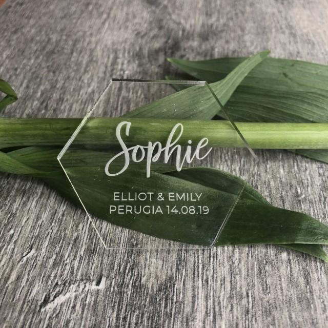 Hexagon Table Place Name with Wedding names and date engraved, Clear Place Name, Personalised Name Setting, Wedding Place Name,