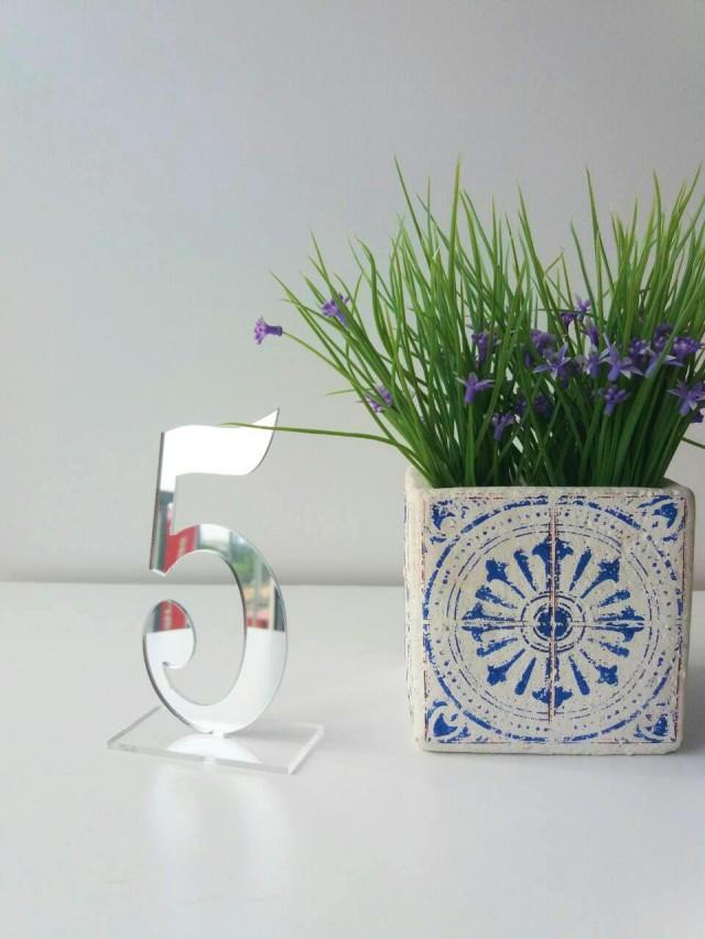 Mirror Acrylic Table Numbers Silver Mirror Table Numbers -Table Numbers with base - Wedding Decor.