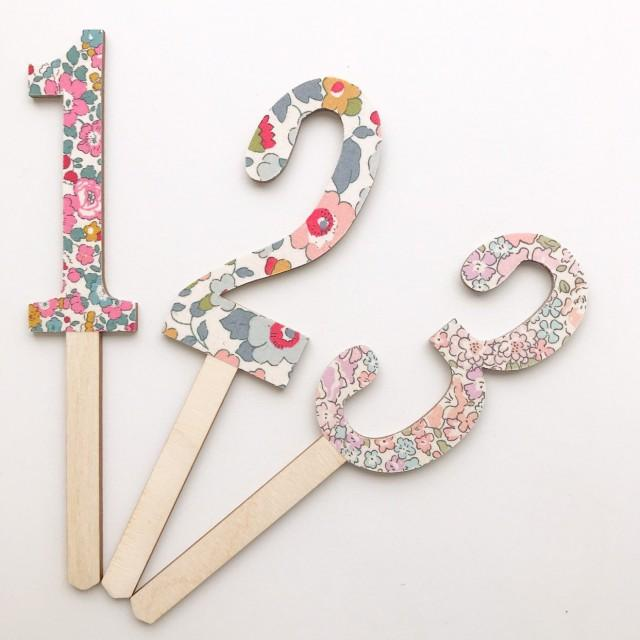 Liberty of London Cake Topper. Wooden Cake topper in any Age