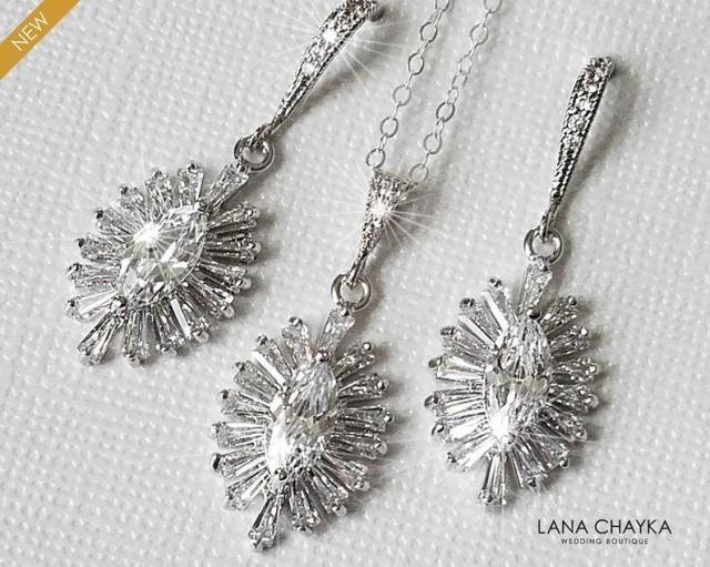 Crystal Bridal Jewelry Set, Wedding Jewelry, Cubic Zirconia Marquise Jewelry Set, Earrings&Necklace Oval Set, Bridal Jewelry, Prom Jewelry