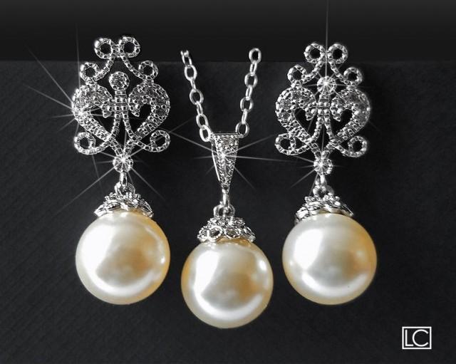 Pearl Bridal Jewelry Set, Swarovski Ivory Pearl Drop Set, Pearl Earrings&Necklace Jewelry Set, Wedding Jewelry Sets, Bridesmaids Pearl Set