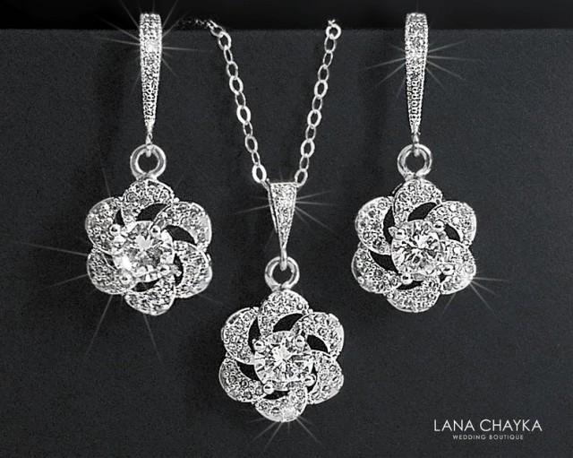 Crystal Bridal Jewelry Set,Cubic Zirconia Earrings&Necklace Set, Camellia Wedding Jewelry Set, Floral Crystal Set, Bridal Jewelry, Prom Set