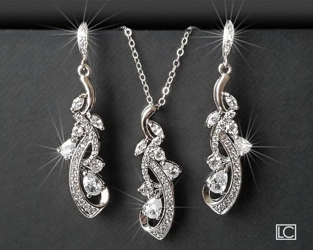 Bridal Jewelry Set, Wedding Floral Earrings&Necklace Set, Chandelier Earrings Pendant Set, Bridal CZ Silver Jewelry, Bridal Party Gift