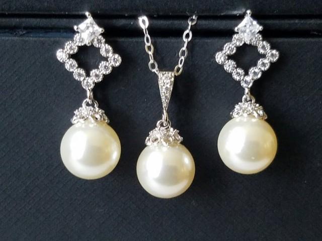 Pearl Bridal Jewelry Set, Swarovski Ivory Pearl Earrings&Necklace Set, Wedding Pearl Jewelry Set, Pearl Drop Earrings, Pearl Drop Pendant