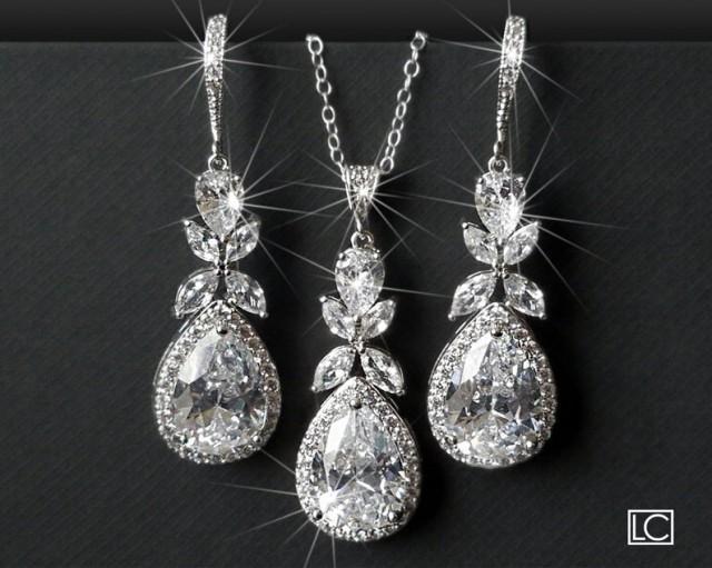 Bridal Jewelry Set, Cubic Zirconia Earrings&Necklace Set, Wedding Crystal Jewelry Set, Teardrop Crystal Set, Chandelier Earrings Pendant Set