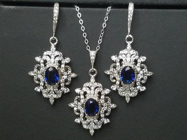 Bridal Jewelry Set, Wedding Earrings&Necklace Set, Navy Blue Silver Halo Jewelry Set, Vintage Bridal Jewelry Sapphire Blue Victorian Jewelry