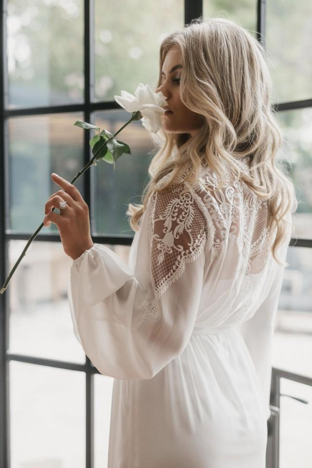 Lace Maxi Robe Including Slip / Lace Bridal Robe / Bridesmaid Robes / Robe / Bridal Robe / Bride Robe / Bridal Party Robes / LUNA