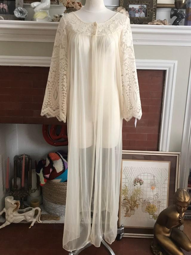vintage ivory long sheer robe with crochet bell sleeve. size medium