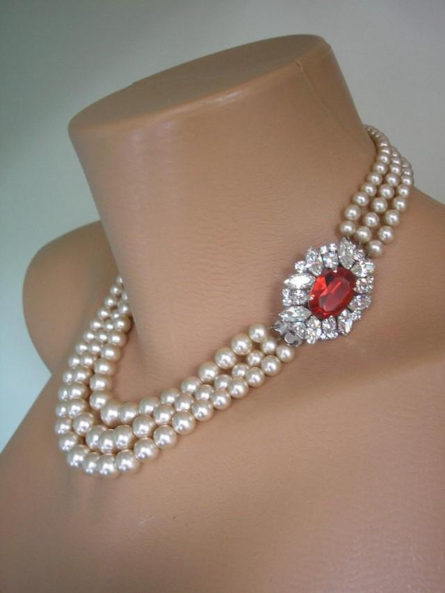 wedding photo - Pearl And Ruby Necklace, James Walker Pearls , Pearls With Side Clasp, Vintage Pearl Choker, Bridal Jewelry, Wedding Jewelry, Art Deco