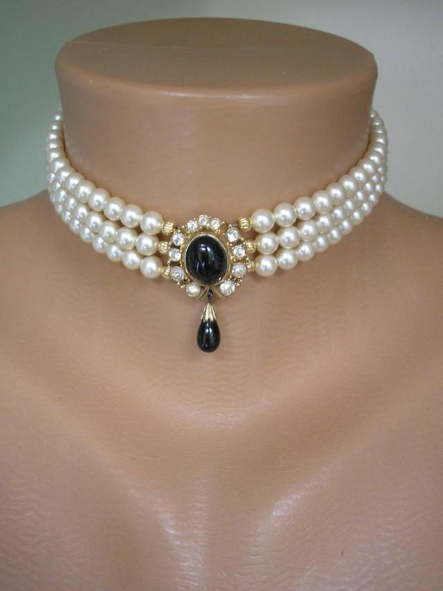 wedding photo - Pearl Choker With Black Pendant Signed CIRO, Vintage Pearl Choker, 3 Strand Pearls, Cream Pearls, Christmas Gift For Her, Party Necklace