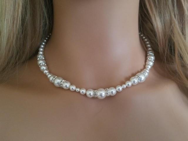 Pearl Bridal Necklace, Swarovski White Pearl Silver Necklace, Wedding Necklace, Bridal Pearl Jewelry, Wedding Jewelry, Statement Necklace
