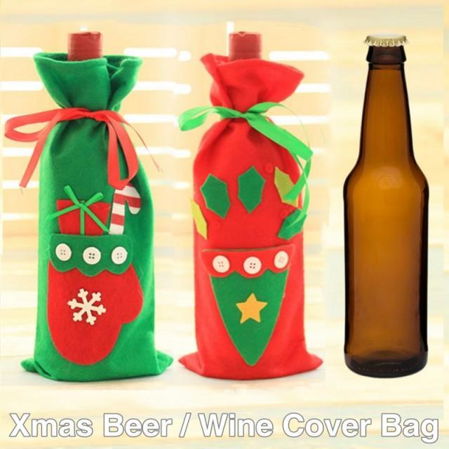 #beterwedding Red Wine Bottle Cover Bags Santa Summer Party doorgift HH105