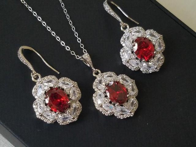 Red Crystal Bridal Jewelry Set, Red Oval Halo Cubic Zirconia Set, Red Earrings Necklace Set, Wedding Red Silver Earrings Red Crystal Pendant