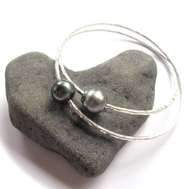 GenuineTahitian Pearl Bangle, Sterling Silver, Handmade Bracelet, Hawaii Beach Jewelry, Elegant Wedding Bridal Jewelry, Mother's Day Gift