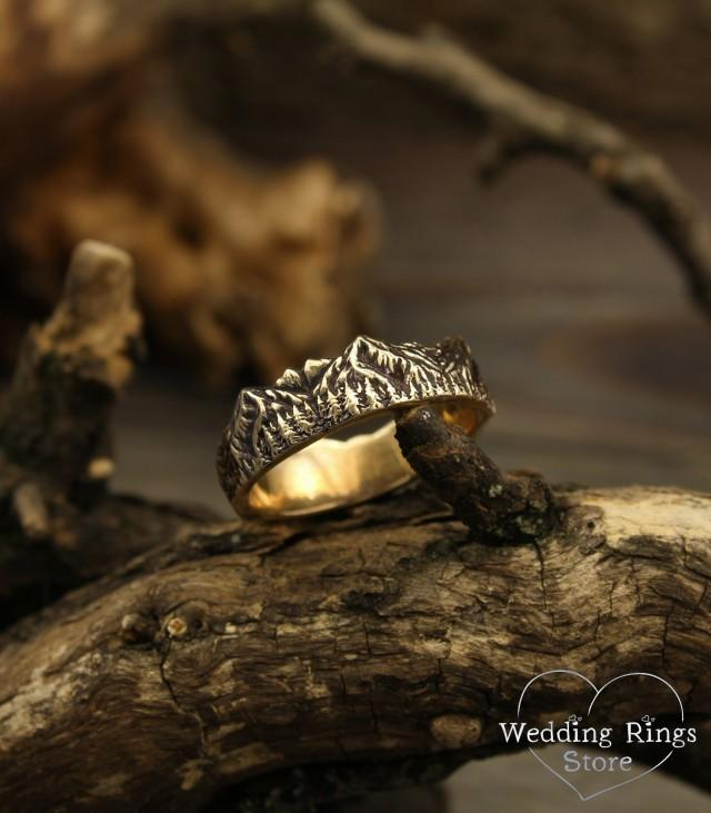 Mountains and forest wedding band, Mountains gold wedding ring, Wild nature wedding band, Unique men's wedding band, Unusual women's band