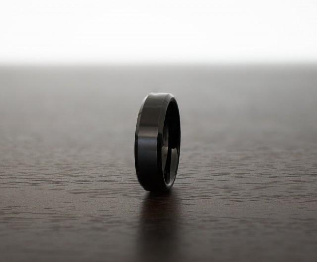 Black Obsidian Sleek Tungsten Ring, Design 6mm Beveled Edges, rings for men, rings for women, anniversary, wedding band, engagement band