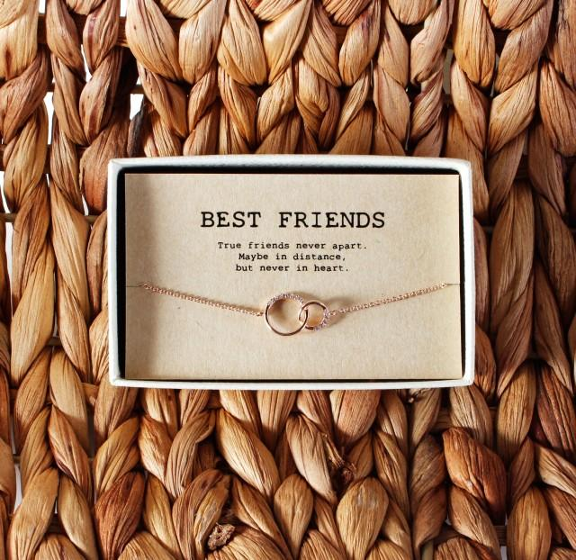 Best friend Necklace • Crystal Necklace • Best Friend Gift Jewelry• Friends Forever • 2 Interlocking Circles Necklace • 01-Ne-BEST FRIENDS