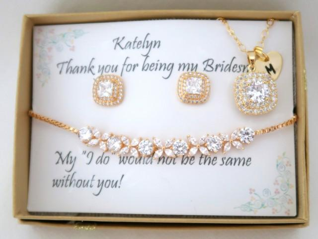 Custom Personalized Bridesmaid Jewelry Set, Bridesmaid gift Set, Bridesmaid Earrings, Necklace and Bracelet Set, Wedding Party gift Jewelry