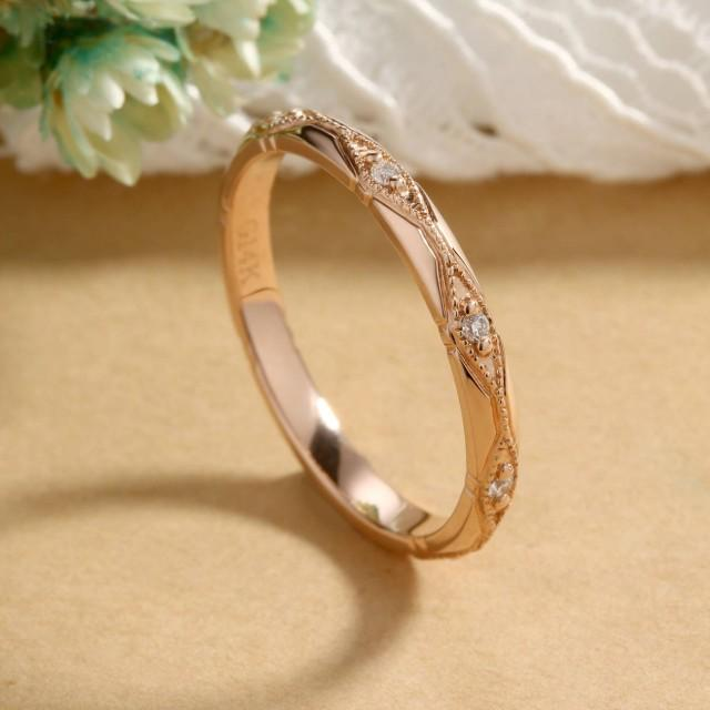 Art Deco wedding band  rose gold vintage Milgrain Antique Dainty Diamond eternity band stacking Bridal set  anniversary promise