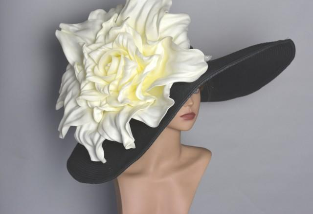 "Over Size 8"" Black Hat Over Size Ivory Rose Wedding Hat Kentucky Derby Hat Wedding Accessory Tea Hat  Cocktail Hat Summer Hat Woman Hat"