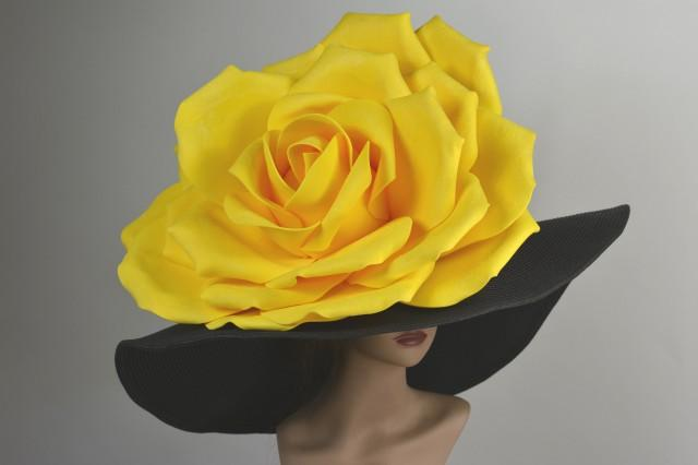 "Over Size 8"" Black Hat Yellow Rose Kentucky Derby Hat Woman Hat Party Tee Summer Hat"