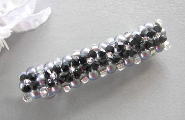Wedding Barrette, Black Swarovski Crystal and Gray Pearl Barrette, Hair Clip Wedding Barrette, Mother of the Bride/Groom Choice of Colors