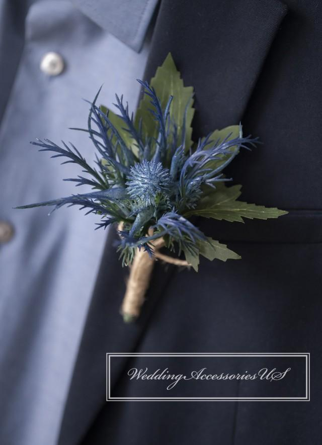 Thistle Boutonniere, Blue Thistle Boutonniere, Purple Thistle Boutonniere, Rustic Wedding, Scottish Thistle, Winter Boutonniere, Artificial