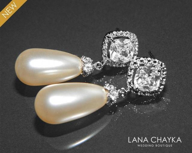 Teardrop Pearl Bridal Earrings, Swarovski Ivory Pearl Cubic Zirconia Earrings, Pearl Wedding Earrings, Pearl Bridal Jewelry, Dangle Earrings