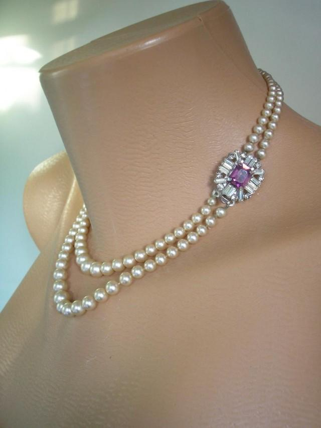 wedding photo - Vintage 2 Strand Pearl Necklace, Pearl Necklace With Side Clasp, Pearl And Amethyst Necklace, Cream Pearls, Vintage Pearls, Graduated Pearls
