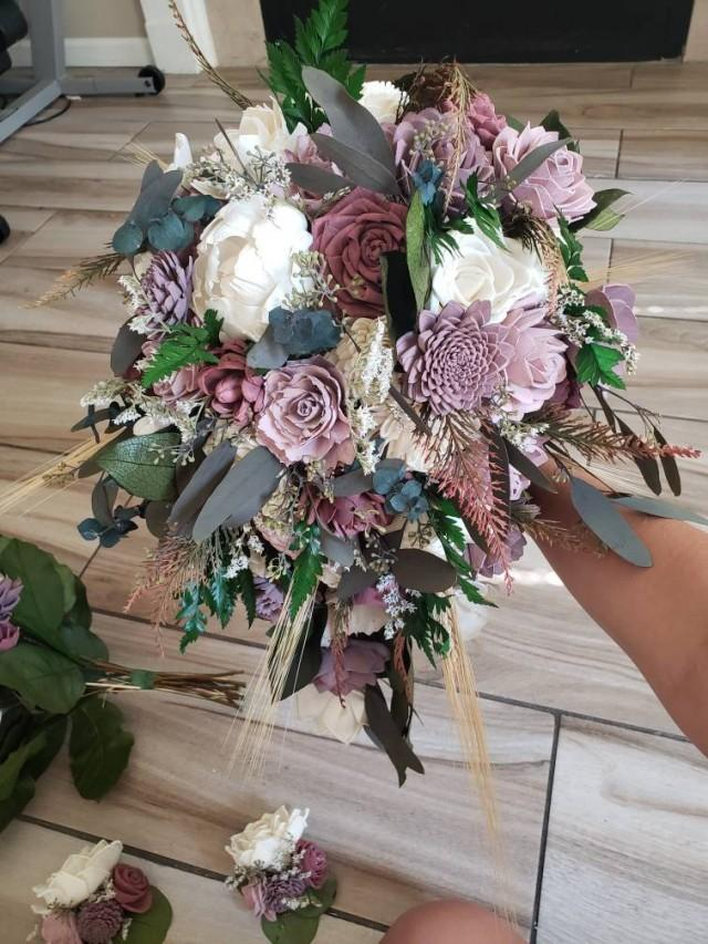 Dusty shades of rose cascading bouquet, sola wood flowers