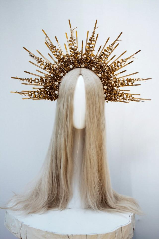 Gold Halo crown, Glitter Halo Headpiece, Festival crown, Festival headpiece, Met Gala Crown, Sunburst Crown, Gold Zip Tie Crown, Mary Crown