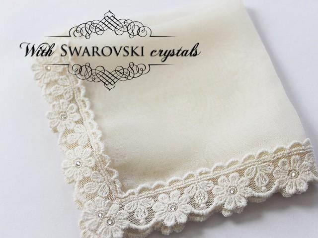 Silk handkerchief, Bride Hankie, Wedding Hanky for Daughter, Bride Gift from Mom, Bridal Accessories