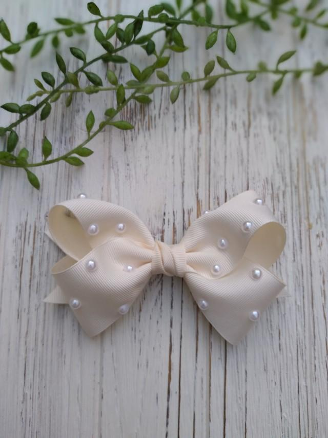 Pearls Grosgrain Hair bows, Nylon Baby headbands, Big Bows for Girls, chic hair bows, accessories for toddler girls, Gifts for Daughter