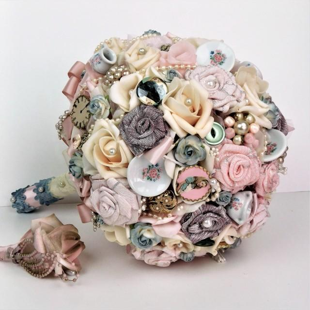 Tea Party Alice Vintage Wedding Bridal Bouquet Pink Rose Bouquet Fabric Flowers Dusty Blue and Ivory Wedding Bouquet Brooch Bouquet Keepsake