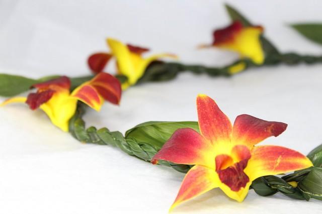 "Hawaiian Lei ""Ti Leaf with Orchid Yellow"" - Choose Your Delivery Date! - Hawaiian Lei Graduation Lei Ti Leaf Yellow Orchid Wedding Luau"