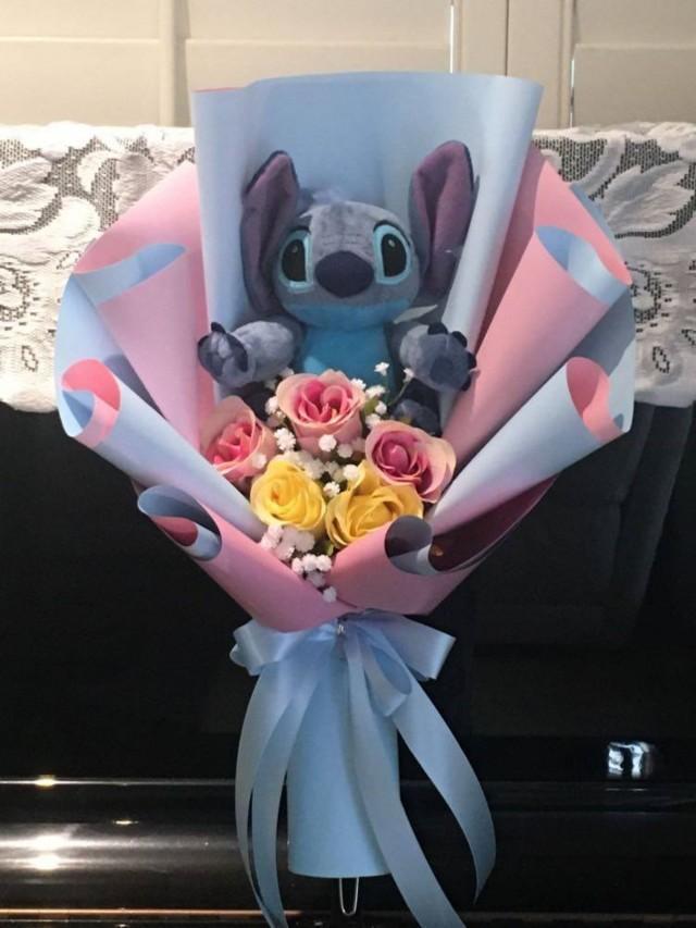 Disney Stitch Plush Bouquet. Blue.