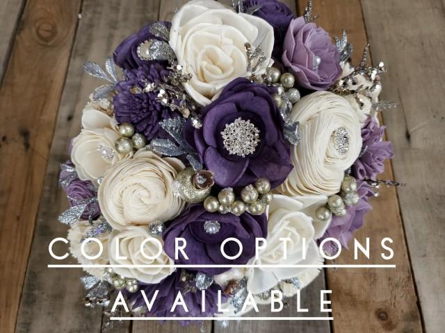 Silver Brooch and Glitter Wood Flower Bouquet, mulitple colors available, bridal bouquet, bridesmaid bouquet, flower girl bouquet