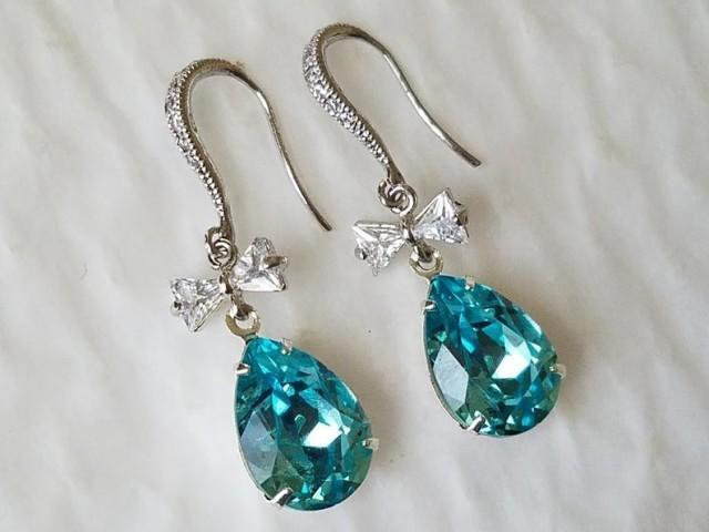 Turquoise Teardrop Crystal Earrings, Swarovski Light Turquoise Bow Earrings, Light Teal Dangle Wedding Earrings, Teal Bow Bridal Earrings