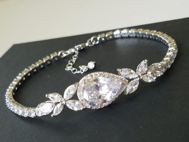 Cubic Zirconia Bridal Bracelet, Wedding Crystal Bracelet, Silver Cubic Zirconia Pear Bracelet, Bridal Jewelry, Wedding Sparkly Bracelet