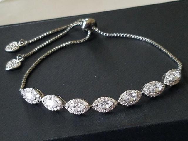 Silver Cubic Zirconia Adjustable Bracelet, Wedding Marquise Bracelet, CZ Sliding Bracelet, Crystal Dainty Bridal Bracelet, Bridal Jewelry