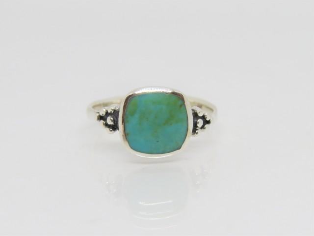 Vintage Western Sterling Silver Turquoise Ring Size 10