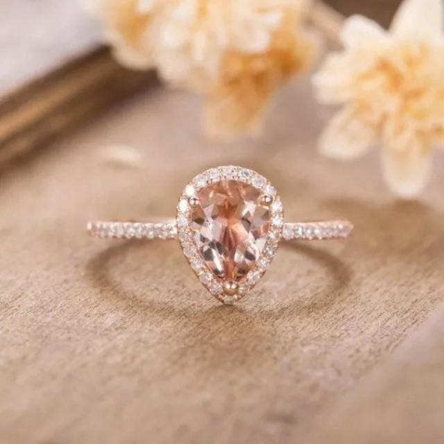 Pear teardrop Morganite Wedding Bridal Engagement Ring,Rose Gold Solid 925 Sterling Silver, morganite ring, morganite jewelry, promise ring
