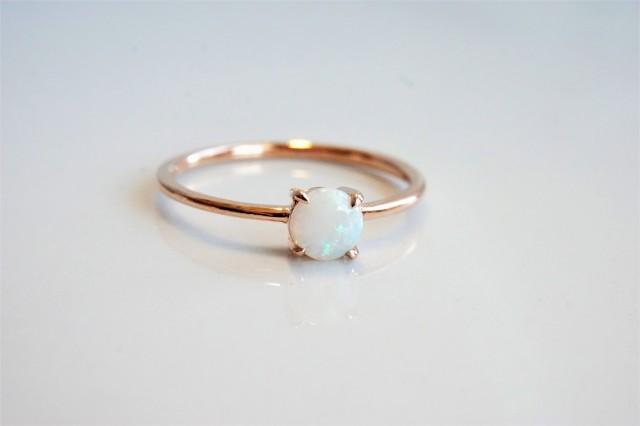EVA - Round White Australian Opal Petite Solitaire Engagement Ring
