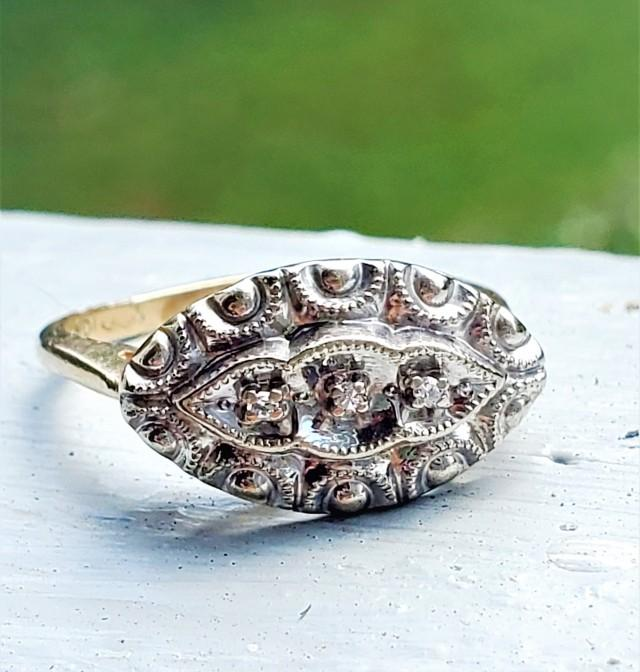 1940s Diamond Filigree East West Engagement Ring 10K!