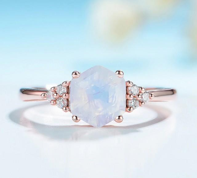 Rainbow Moonstone Ring-Natural Gemstone Ring-925 Sterling Silver-Romantic Gift-Engagement Ring-Birthday Gift-Silver Ring-Halo Ring-Rose Gold