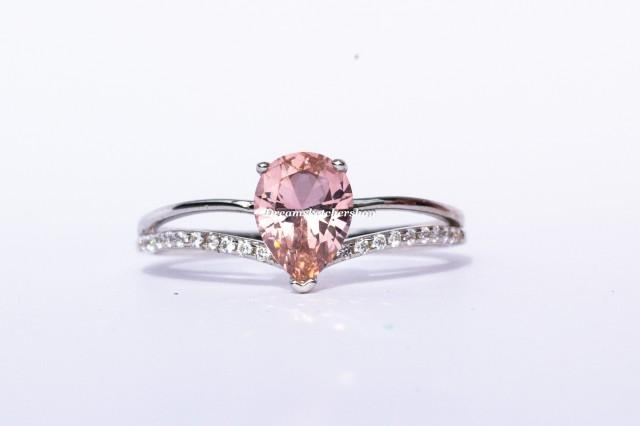 Pink Morganite Teardrop Ring, Morganite Pear, Sterling Silver Ring, Engagement Ring, Anniversary, Birthday, Gift For Her